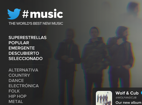Twitter #Music cerrará el 18 de Abril