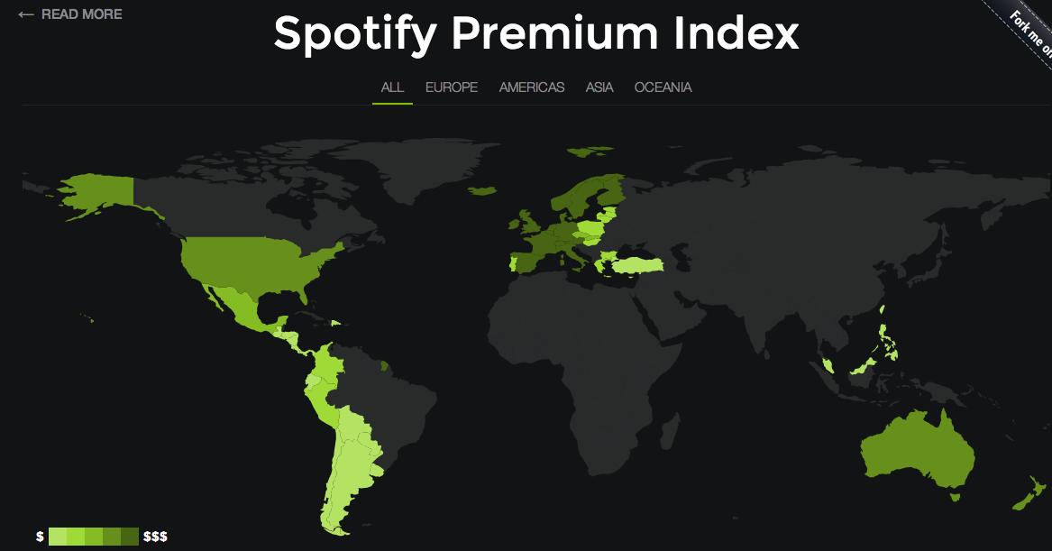 Mapa interactivo de los precios de Spotify en el mundo