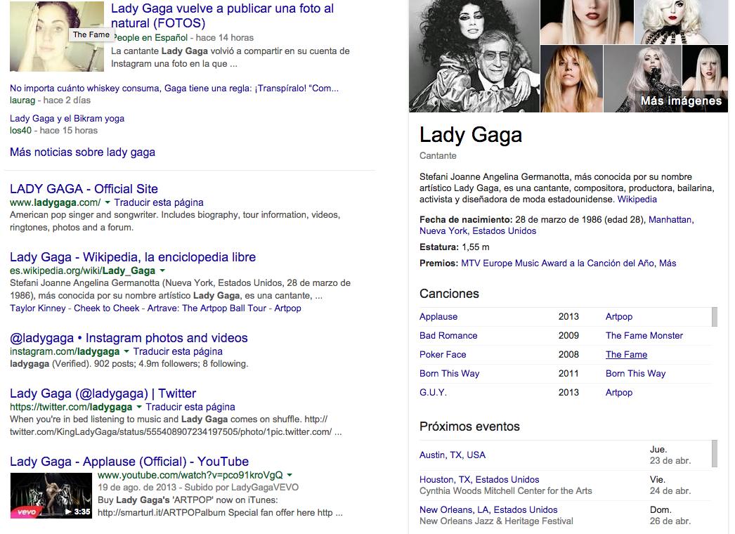Google empieza a mostrar de forma destacada los conciertos en su buscador