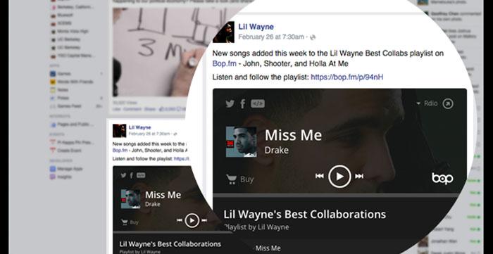 Bop.fm se asocia a Facebook para reproducir canciones en el news feed