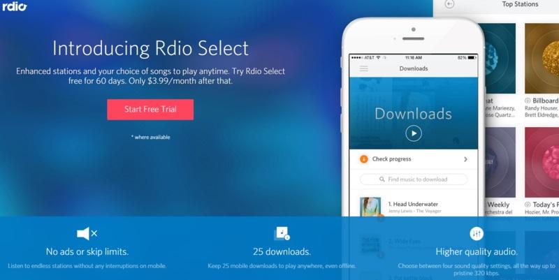 Rdio Select, la tarifa de 3.99$ de Rdio, ya tiene fecha de llegada a Europa
