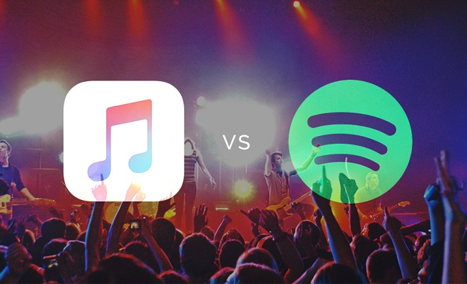Comparativa gráfica de Apple Music vs Spotify