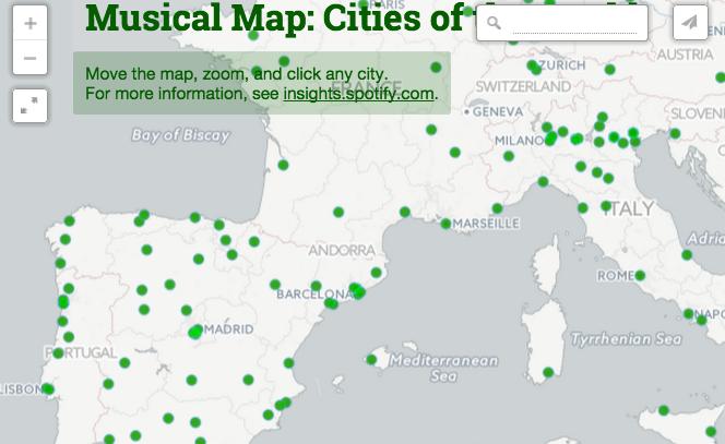 Spotify revela las canciones más escuchadas por ciudades con un mapamundi musical