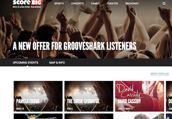 Ahora Grooveshark te lleva a la venta de entradas