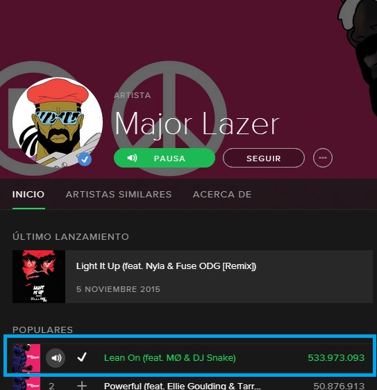 Major Lazer Lean On Spotify