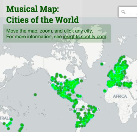 Los 10 artculos ms ledos del 2015 en industriamusical 4 spotify revela las canciones ms escuchadas por ciudades con un mapamundi musical gumiabroncs Images