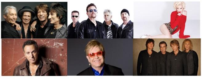 U2, Rolling Stones, Madonna, Bon Jovi, Bruce Springsteen, Elton John, II