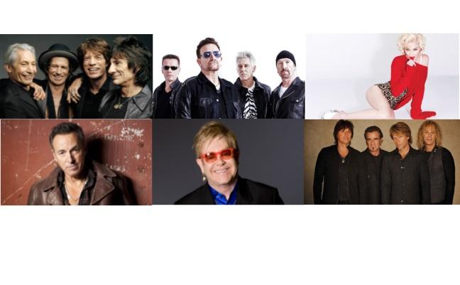 Los artistas más taquilleros de la historia del Billboard Boxscore