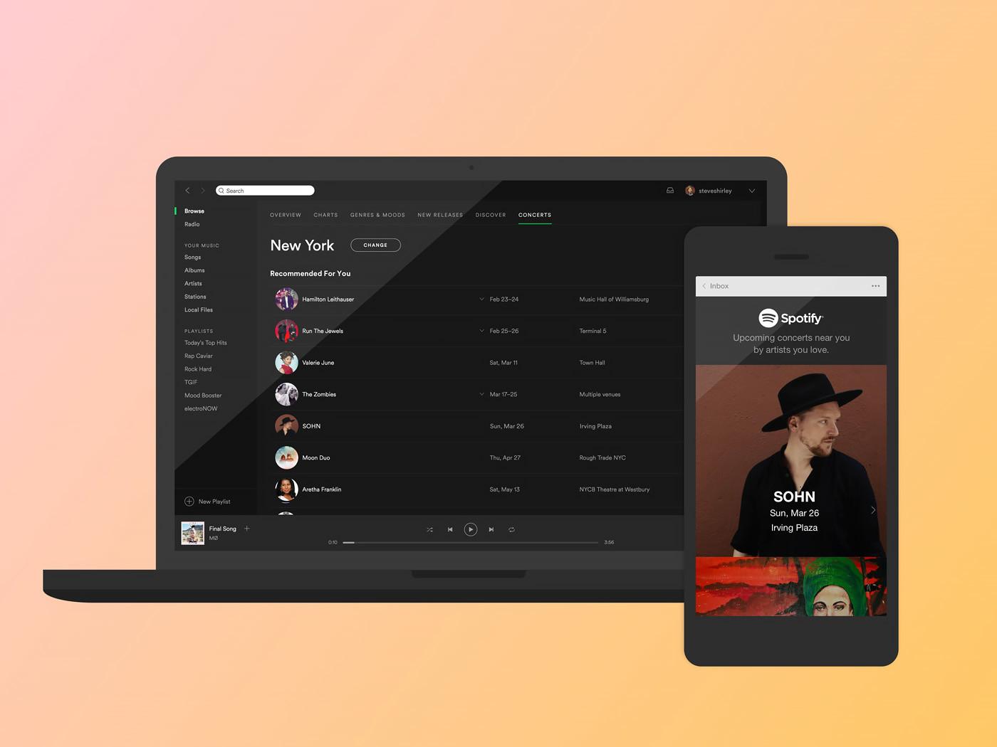 Spotify expande su servicio de recomendación de conciertos junto a Ticketmaster